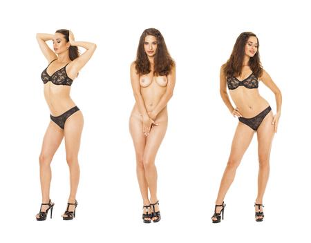 Collage di test di modello. Ritratto completo di modelle brune in lingerie nera, isolate su sfondo bianco