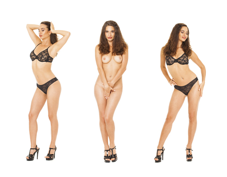 Model Tests Collage. Full portrait of brunette models in black lingerie, isolated on white background