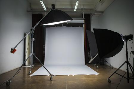 Photo studio interior with gray background