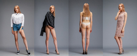 Collage four sexy blonde models. Young blonde woman posing over dark gray wall background