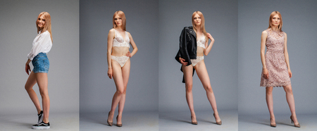Collage four blonde models. Young blonde woman posing over dark gray wall background