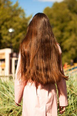 Close up Female long brunette hair, rear view, summer park outdoor