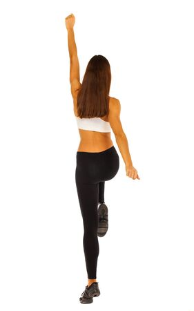 Sport fitness woman back view, young healthy girl doing exercises, full length portrait isolated over white background