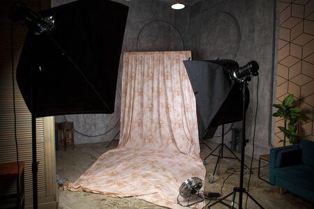 Interior photo studio with fabric background