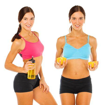 Collage zwei junge athletische Brunettefrauen. Standard-Bild