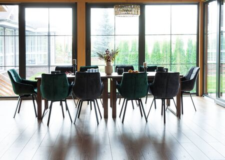 Interior of a dining room in a wooden country house Stock fotó