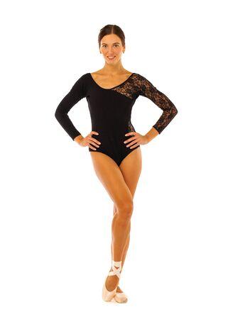 Beautiful ballerina in black bodysuit posing in studio, isolated on white background Stock Photo