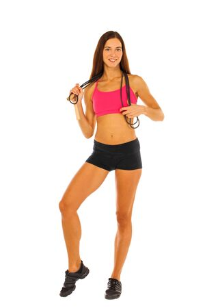 Sport fitness brunette woman, young healthy girl doing exercises, full length portrait isolated over white background