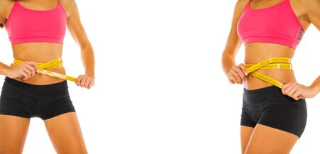 コラージュフィットネスボディ部分女性の胃 - 白い背景に隔離 写真素材