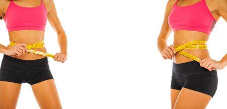 Collage Fitness lichaamsdeel vrouwelijke maag - geïsoleerd op witte achtergrond Stockfoto