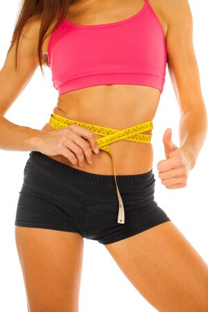 Fitness body part female stomach - isolated on white background Stock fotó