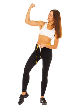 Sport fitness woman, young healthy girl doing exercises, full length portrait isolated over white background