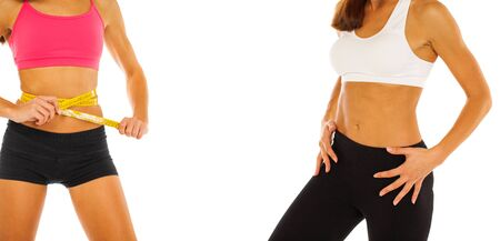 Collage Fitness body part female stomach - isolated on white background