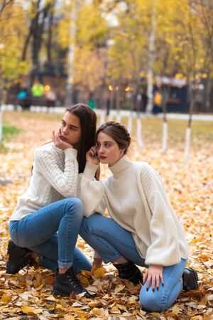 Full body portrait. Two girlfriends in a white woolen sweater and blue jeans in the autumn park