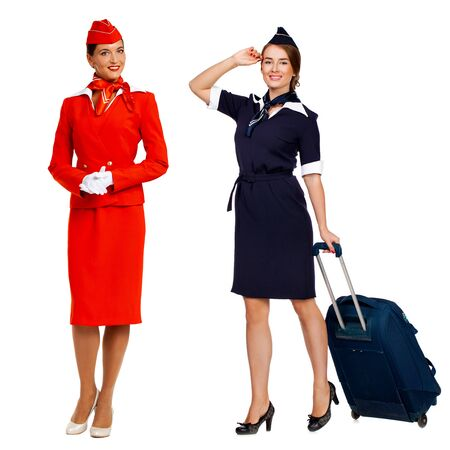 Collage two portrait in full growth stewardess - isolated on white background