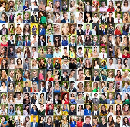 Verzameling van verschillende blanke vrouwen en mannen, variërend van 18 tot 50 jaar