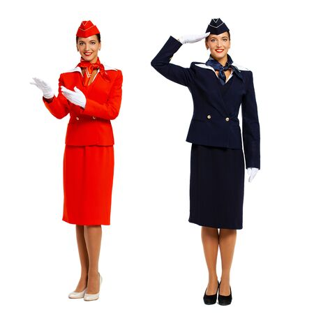 Collage two portrait of a young beautiful Russian stewardess in uniform - isolated on white background