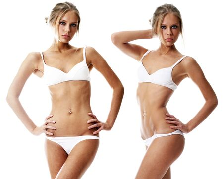 Collage two sexy young blonde women in white underwear, isolated on white background Reklamní fotografie