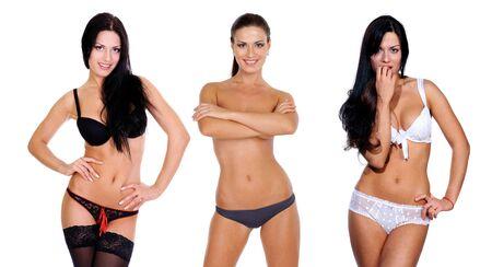 Collage trois jeune femme la couvrant avec les mains Banque d'images