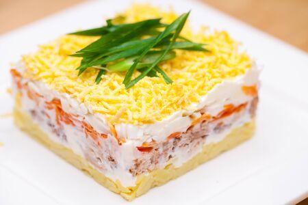Restaurant dish mimoza salad Standard-Bild - 142364607