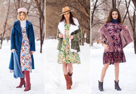 Collage winter fashion models. Portrait of a young beautiful teenager girls in winter park