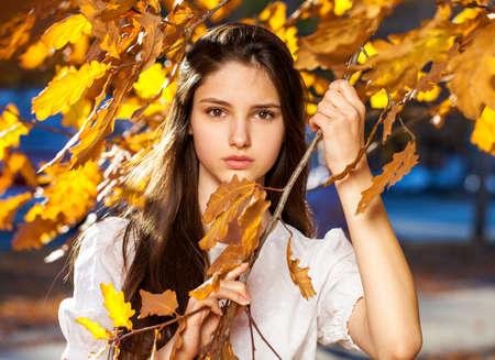 Young beautiful girl in a purple sweater lies on fallen autumn leaves Standard-Bild