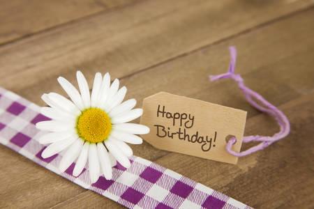 felicitaciones cumpleaÑos: Marguerite con etiqueta con mensaje de feliz cumpleaños y cinta a cuadros púrpura y blanco sobre fondo marrón rústico