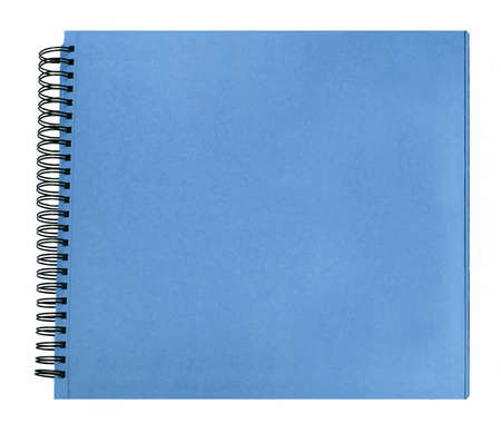 coloured hard cover book with ring binder on white background isolated