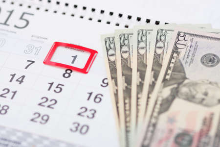 first day: Payment of the first day of the month Stock Photo