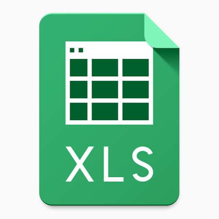 Icono de interfaz de usuario de tipo de archivo XLS para el servicio de almacenamiento de datos en la nube / sitio web / diseño de aplicaciones. Ilustración vectorial