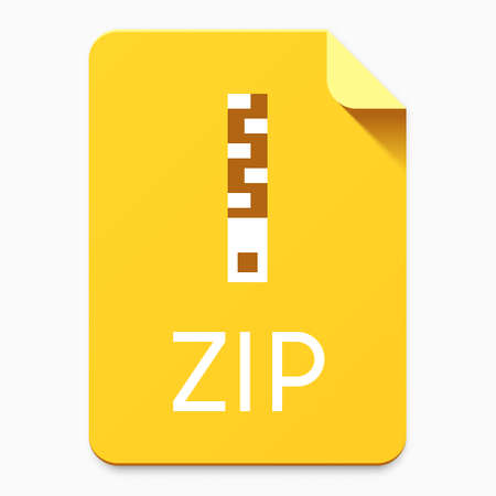 Flat material design ZIP file type icon. Graphical user interface element for applications, websites & data services