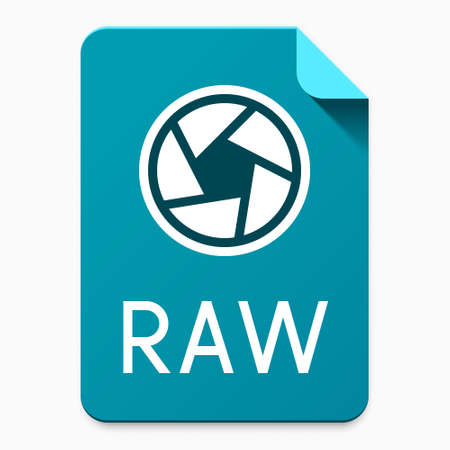 Flat material design RAW file type icon. Graphical user interface element for applications, websites & data services
