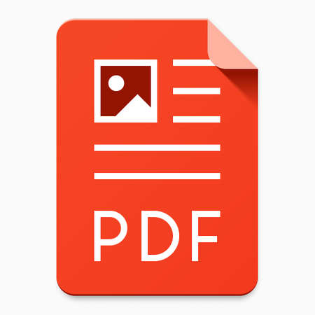 Flat material design PDF file type icon. Graphical user interface element for applications, websites & data services