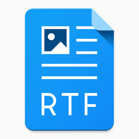 Flat material design RTF file type icon. Graphical user interface element for applications, websites & data services Vettoriali