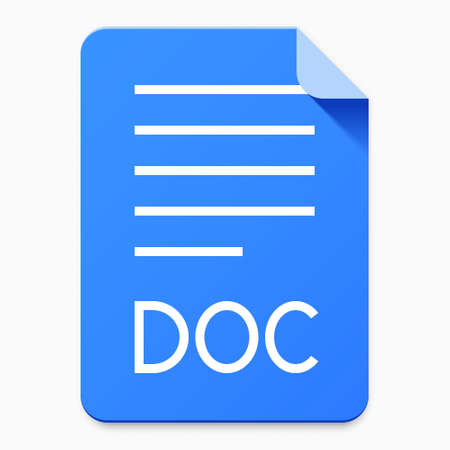 Flat material design DOC file type icon. Graphical user interface element for applications, websites & data services Vektorové ilustrace