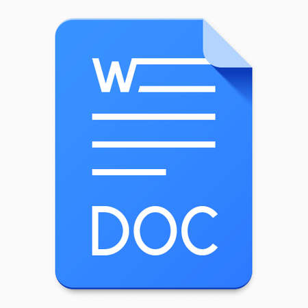 Flat material design DOC file type icon. Graphical user interface element for applications, websites & data services