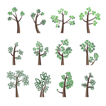 Trees. Collection of design elements. Icons set.