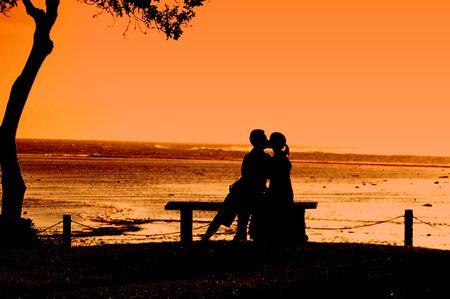 Fiji love at sunset couple photo