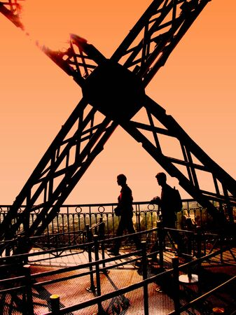 Eiffel Tower silhouetted couple paris france sunset Stock Photo - 2670366