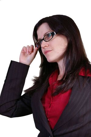 poignant: Business Woman pondering and moving forward with glasses