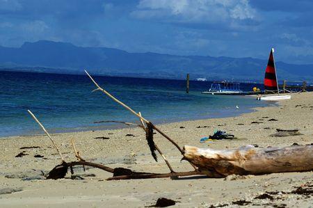bounty: Beach resort Bounty island fiji south pacific Stock Photo