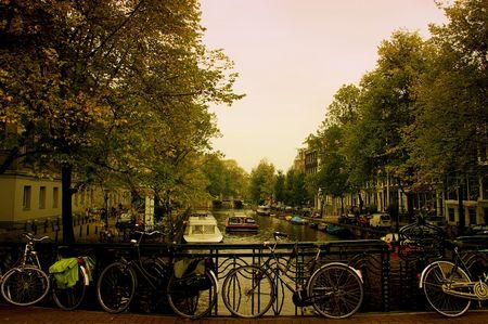 Amsterdam Canal boathouse vista  Archivio Fotografico