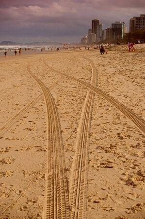 on the skids: Gold coast beach scene surfers paradise