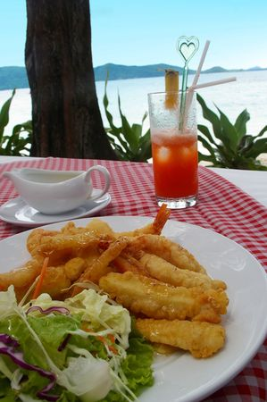 phuket food: Tempura Japanese prawns served in Thailand with cocktail
