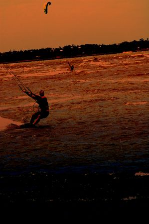 airfoil: Kite boarding silhouette drag Stock Photo
