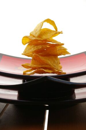 plater: Corn chips bite size meal on a plater