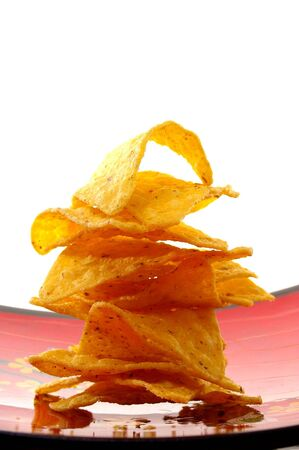 corn chips chippies stacked and isolated food Stock Photo - 4732484
