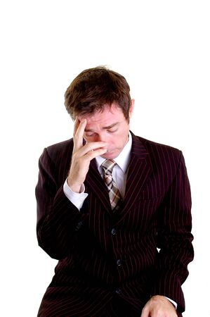 stressed out business man with hand on head Stock Photo - 4783946