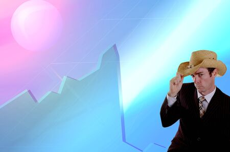 stock market crash: business cowboy in front of stock market crash financial crisis graphic Stock Photo