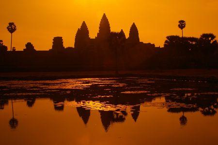 arancione vista da cartolina veiw del leggendario templi di Angkor Wat, Siem Reap Cambogia